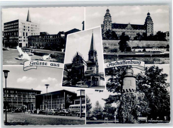 Aschaffenburg Main Aschaffenburg Bahnhof Rathaus Schloss Herstallturm x / Aschaffenburg /Aschaffenburg LKR