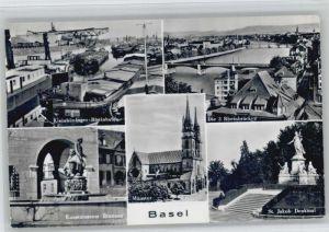 Basel BS Basel Kunstmuseum Brunnen St Jakob Denkmal kleinhueninger Rheinhafen * / Basel /Bz. Basel Stadt City