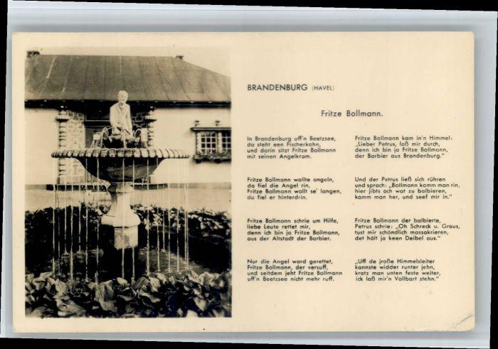 Brandenburg Havel Brandenburg Havel Gedicht Fritze Bollmann x / Brandenburg /Brandenburg Havel Stadtkreis