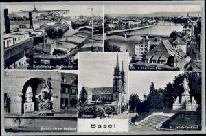 Basel BS Basel Rheinbruecken St Jakob Denkmal Kunstmuseum Brunnen x / Basel /Bz. Basel Stadt City