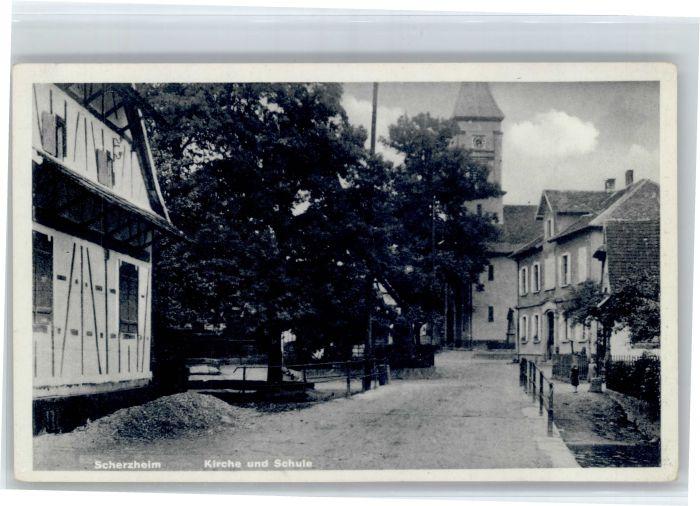 Scherzheim Scherzheim Kirche Schule * / Lichtenau /Rastatt LKR