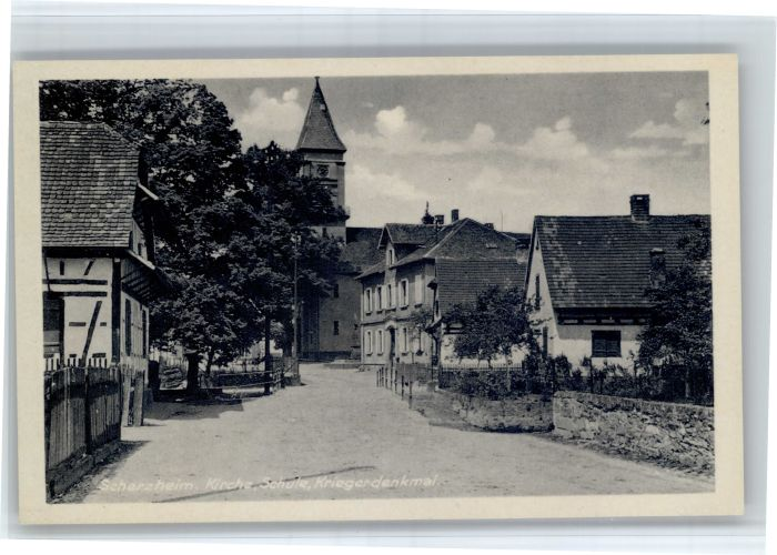 Scherzheim Scherzheim Kirche Schule Kriegerdenkmal * / Lichtenau /Rastatt LKR