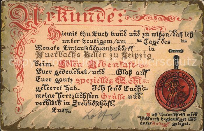 Leipzig Urkunde / Leipzig /Leipzig Stadtkreis