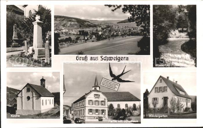 Schweigern Denkmal Wasserfall Kirche Schulhaus Kindergarten Briefschwalbe / Boxberg /Main-Tauber-Kreis LKR