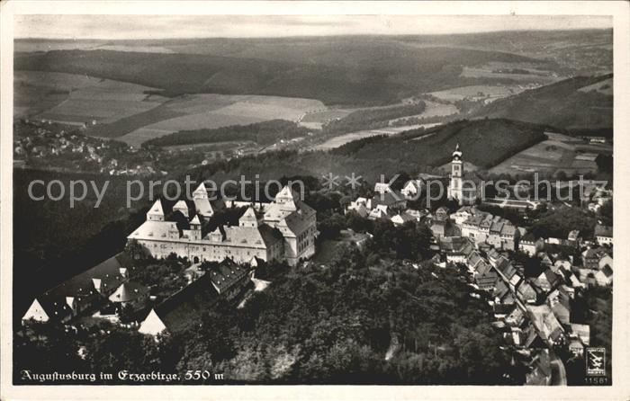 Augustusburg Fliegeraufnahme Schloss Erzgebirge / Augustusburg /Mittelsachsen LKR