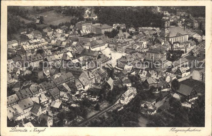 Loessnitz Erzgebirge Stadtmitte Kirche Fliegeraufnahme Junkers Luftbild Nr. 28857 / Loessnitz /Erzgebirgskreis LKR