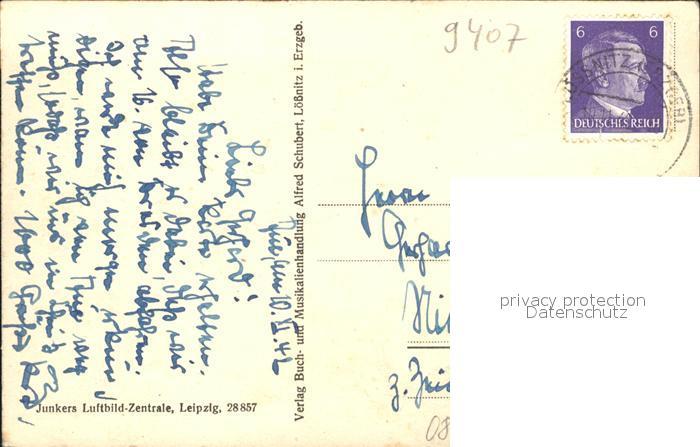 Loessnitz Erzgebirge Stadtmitte Kirche Fliegeraufnahme Junkers Luftbild Nr. 28857 / Loessnitz /Erzgebirgskreis LKR 1