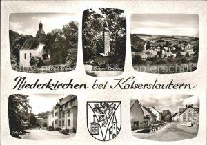Niederkirchen Kaiserslautern Kirche Kriegerdenkmal Schule Strassenpartie Wappen Bromsilber / Niederkirchen /Kaiserslautern LKR