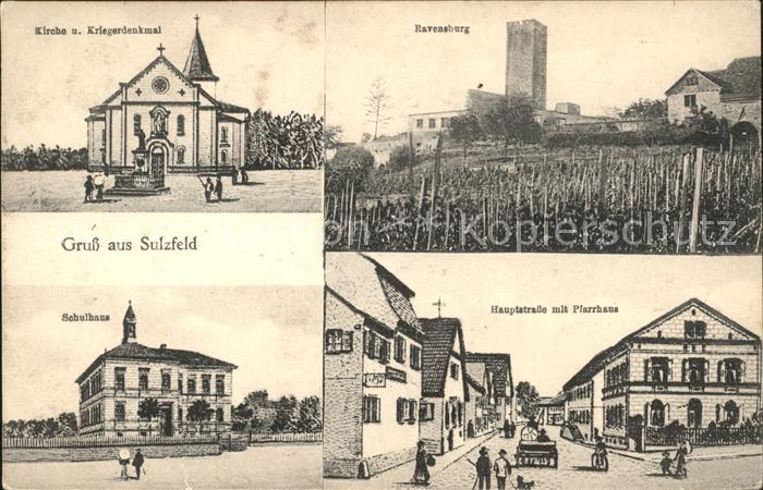 Sulzfeld Baden Kirche Kriegerdenkmal Hauptstrasse mit Pfarrhaus Schulhaus / Sulzfeld /Karlsruhe LKR