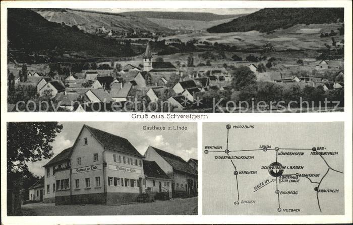Schweigern Gasthaus z. Linde Karte / Boxberg /Main-Tauber-Kreis LKR