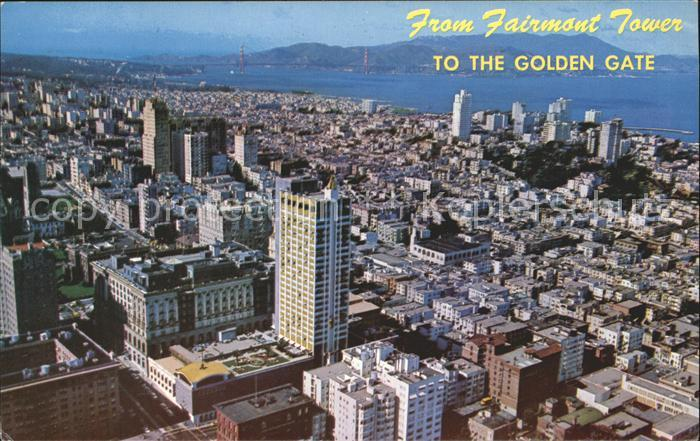 San Francisco California Panoramic view from Fairmont Tower Golden Gate Kat. San Francisco