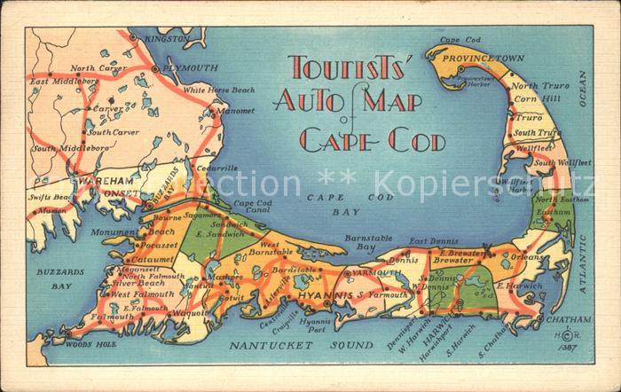 Brewster Massachusetts Tourists Auto Map Cape Cod Kat. Brewster Nr ...