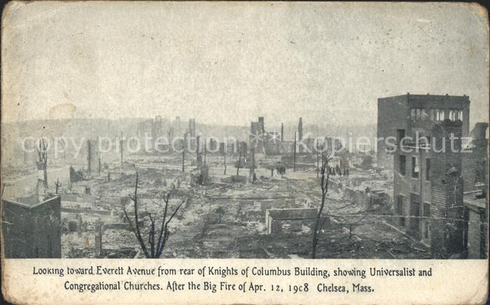 Chelsea Massachusetts Everett Avenue Columbus Building Big Fire April 1908 Brandkatastrophe Kat. Chelsea