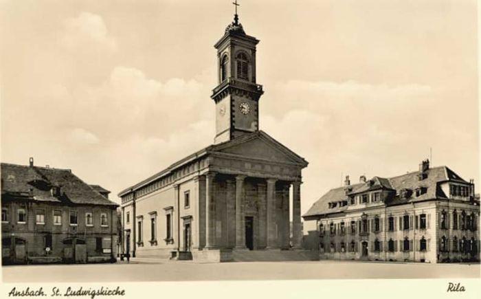 Ansbach Mittelfranken Ansbach St. Ludwigs Kirche  * 1940 / Ansbach /Ansbach LKR