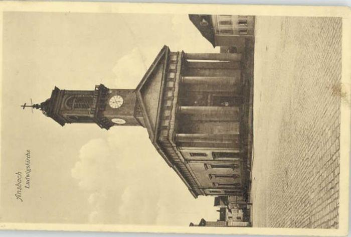 Ansbach Mittelfranken Ansbach Feldpost Ludwigs Kirche  x 1919 / Ansbach /Ansbach LKR
