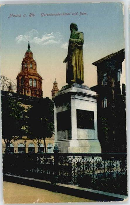 Mainz Rhein Mainz Gutenberg Denkmal  * / Mainz Rhein /Mainz Stadtkreis