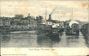 Cleveland Ohio River Scene Steamer Kat. Cleveland