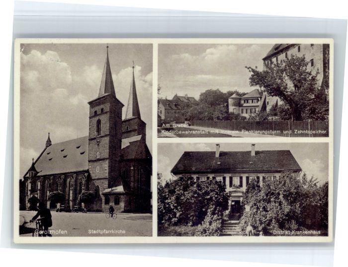 Gerolzhofen Gerolzhofen Krankenhaus Kirche Kinderbewahranstalt Zehntspeicher Flankierungsturm x / Gerolzhofen /Schweinfurt LKR