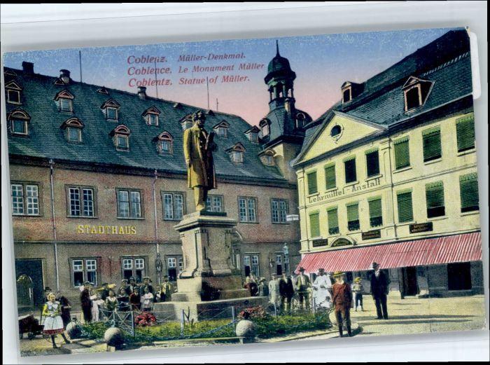 Koblenz Rhein Koblenz Mueller Denkmal  * / Koblenz /Koblenz Stadtkreis