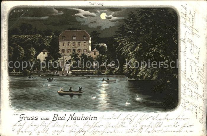 Bad Nauheim Teich bei Mondschein Kat. Bad Nauheim