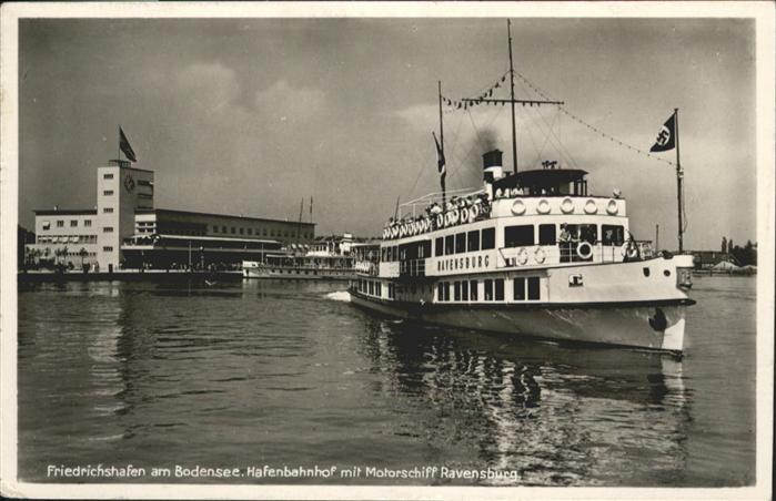 Friedrichshafen Hafenbahnhof Motorschiff Ravensburg