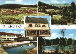 Sulzfeld Grabfeld Ortsansicht Partie am Annabild Baunachsee Swimming Pool Kat. Sulzfeld