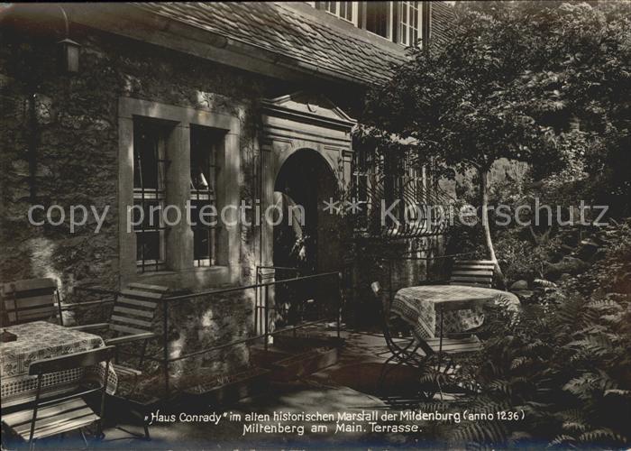 Miltenberg Main Haus Conrady im alten historischen Marstall der Mildenburg Terrasse Kat. Miltenberg
