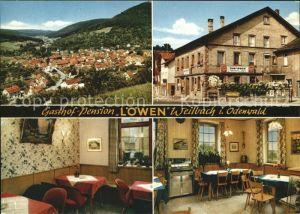 Weilbach Unterfranken im Odenwald Gesamtansicht Gasthof Pension Cafe Zum Loewen Klappkarte Kat. Weilbach
