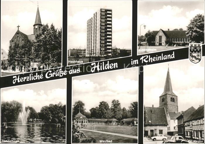 Hilden Duesseldorf Hochhaus Jugendheim Kirche Waldbad Kat. Duesseldorf