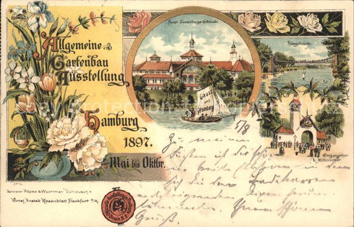 Lithographie hamburg allgemeine gartenbau ausstellung for Gartenbau hamburg