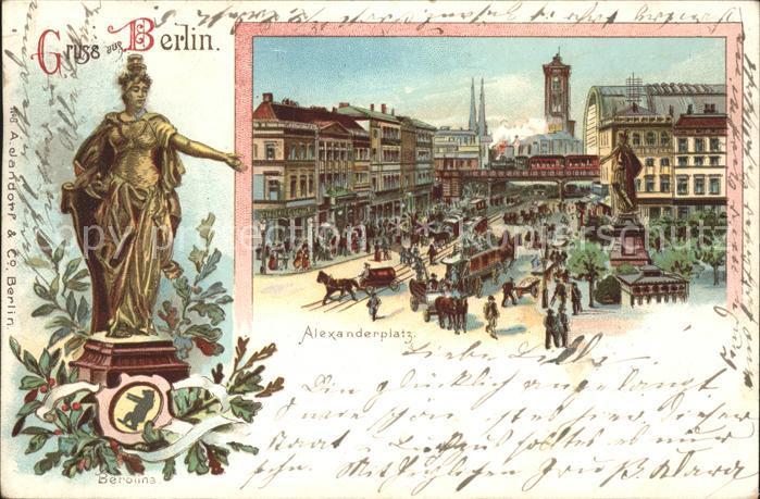 lithographie berlin verkehr auf dem alexanderplatz statue der berolina nr 6365531 oldthing. Black Bedroom Furniture Sets. Home Design Ideas