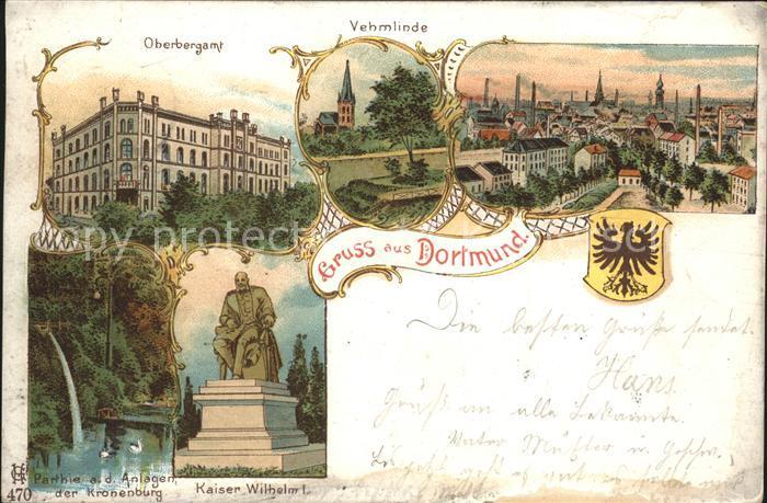 Dortmund Oberbergamt Vehmlinde Panorama Kaiser Wilhelm Denkmal Wappen Kat. Dortmund