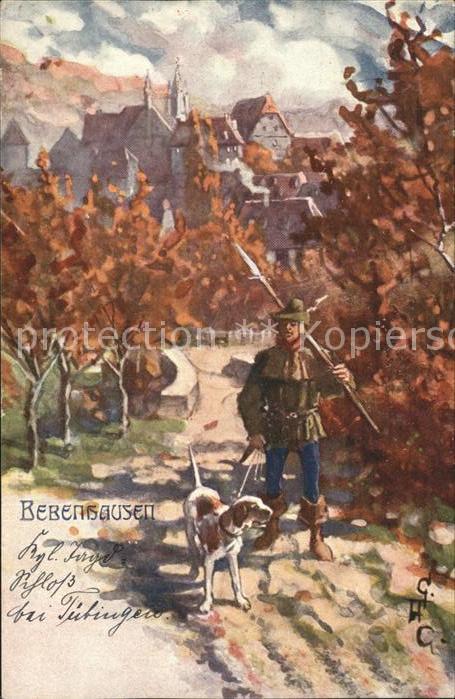 Bebenhausen Tuebingen Mann mit Hund im Wald Kuenstlerkarte Kat. Tuebingen