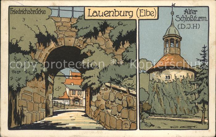 Lauenburg Elbe Friedrichsbruecke alter Schlossturm Kuenstlerkarte Kat. Lauenburg  Elbe