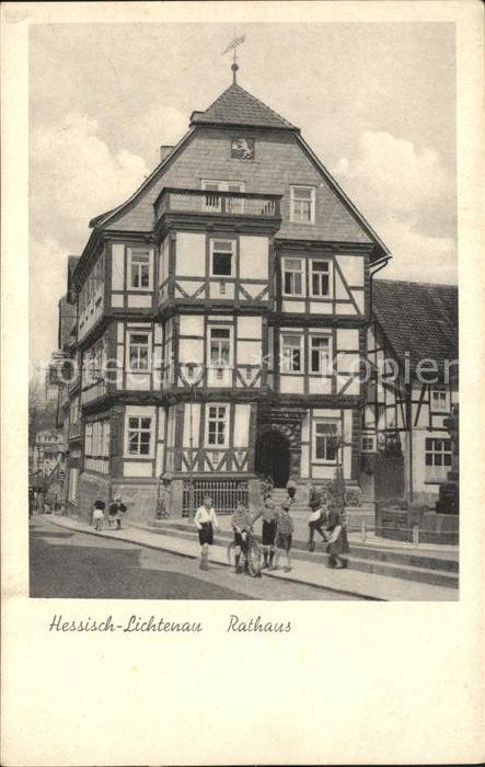 Hessisch Lichtenau Rathaus mit Kindern Kat. Hessisch Lichtenau