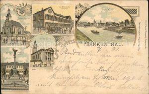 Frankenthal Pfalz Kath.KircheSt.Elisabeth Hospital u.Rhein Kanal Kat. Frankenthal (Pfalz)
