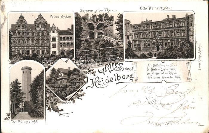Heidelberg Neckar Friedrichsbau u.Otto Heinrichsbau Kat. Heidelberg