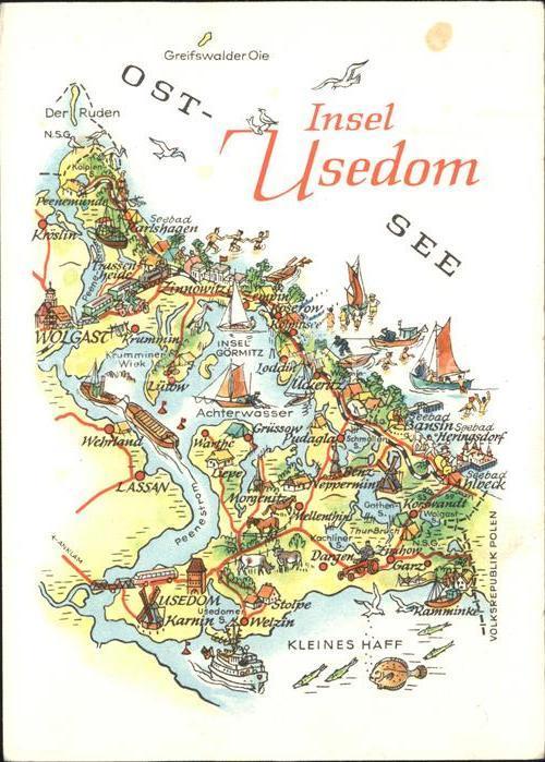 Insel Usedom Karte Ostsee.Usedom Landkarte Insel Ostsee Kat Usedom