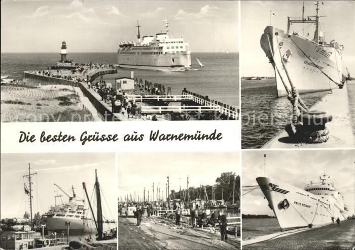 Warnemuende Ostseebad Mole Leuchtturm Schiffe Hafen Kat. Rostock