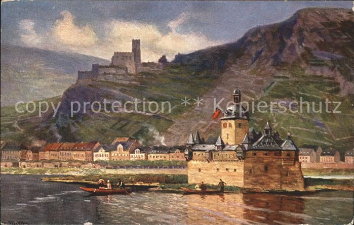 Caub und die Pfalz Pfalzgrafenstein TSN Serie 900 Kuenstlerkarte Kat. Kaub
