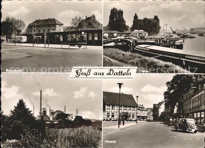 Datteln Altmarkt Hafen Busbahnhof Zeche Kat. Datteln