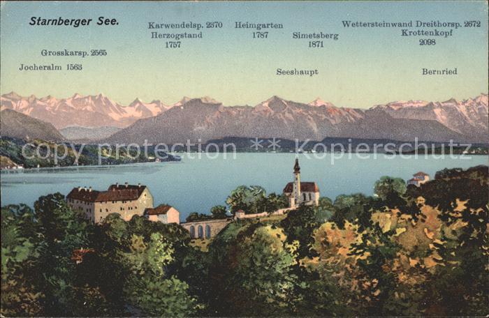 Starnberg Panorama Starnberger See mit Alpen Kat. Starnberg