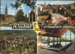 Werdohl Kirche Ehrenmal Gesamtansicht Stadtbruecke Hallenbad Wappen Kat. Werdohl