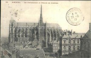 Amiens Cathedrale et Palais de Justice Stempel auf AK Kat. Amiens