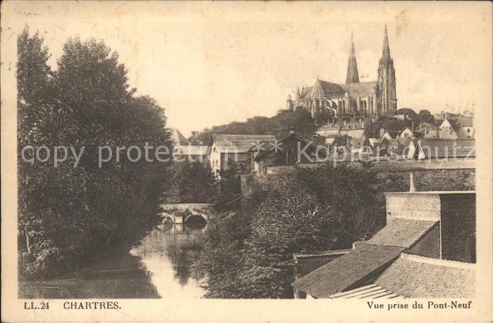 Chartres Eure et Loir Vue prise du Pont Neuf Cathedrale Kat. Chartres