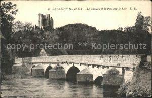 Lavardin Loir et Cher Chateau et Pont sur le Loir Kat. Lavardin