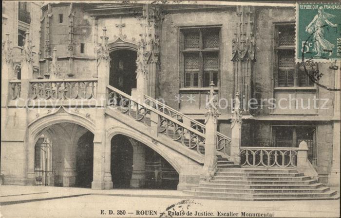 Rouen Palais de Justice Escalier Monumental Stempel auf AK Kat. Rouen