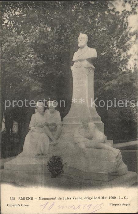 Amiens Monument de Jules Verne Statue Kat. Amiens