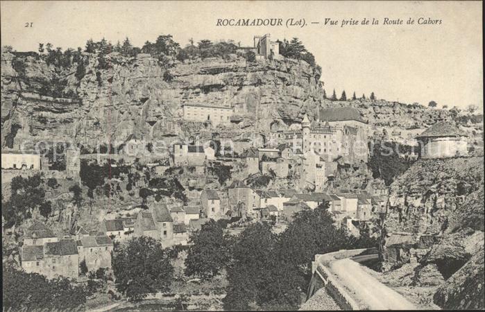 Rocamadour Vue prise de la Route de Cabors Kat. Rocamadour