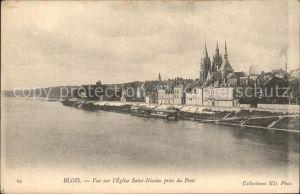 Blois Loir et Cher Vue sur l Eglise Saint Nicolas prise du Pont Kat. Blois